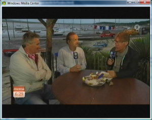 Grossmann and Rohr in a seafood restaurant at the port of Claouey